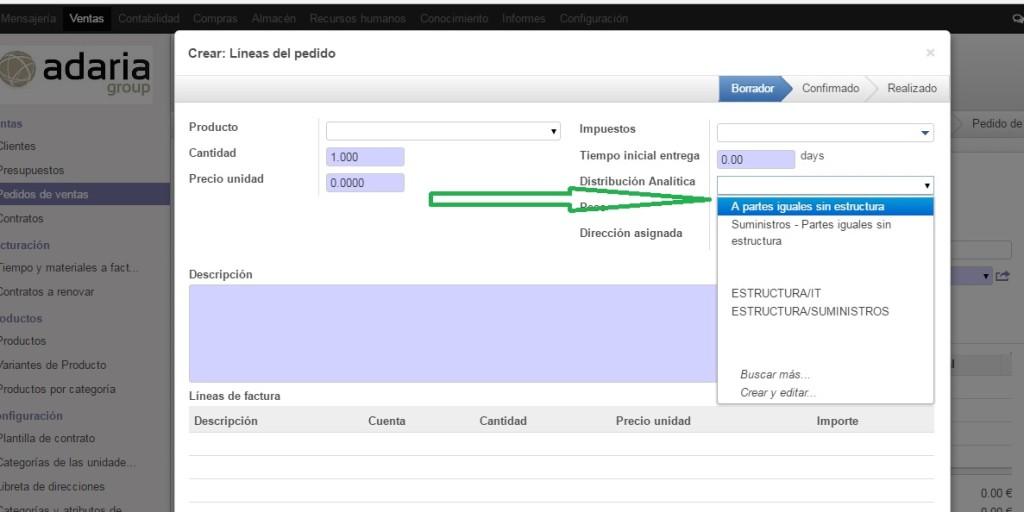 Escoger Distribución de Analítica a la Factura de Venta, asignando a uno, o varios centros, o a repartir